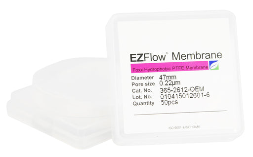 50 pack EZFlow® 47mm 0.2µm Hydrophobic PTFE Membrane Disc Filter