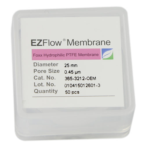 50 pack EZFlow® 25mm 0.45µm Hydrophobic PTFE Membrane Disc Filter