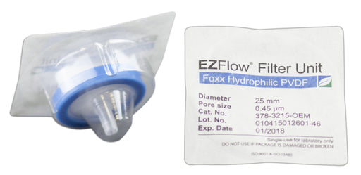 25mm Sterile Syringe Filter, .45μm Hydrophilic PVDF, 100/pack