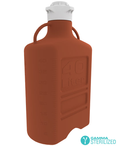 EZBio® 40L (10 GAL) Amber HDPE Carboy with VersaCap® 120mm, Double Bagged, Gamma Sterilized