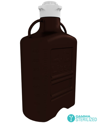 EZBio® 40L (10 GAL) Dark Amber PP Carboy with VersaCap® 120mm, Double Bagged, Gamma Sterilized