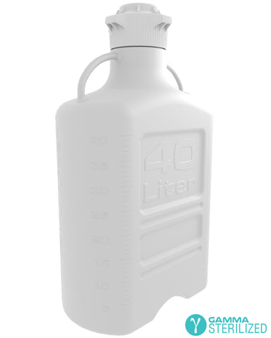 EZBio® 40L (10 GAL) HDPE Carboy with VersaCap® 120mm, Double Bagged, Gamma Sterilized