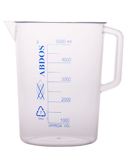 Abdos Printed Beakers with Handle, TPX Polymethyl pentene (PMP) 5000ml, 2/CS