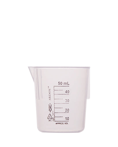 Abdos Printed Plastic Beakers, Polypropylene (PP) 50ml, 12/CS