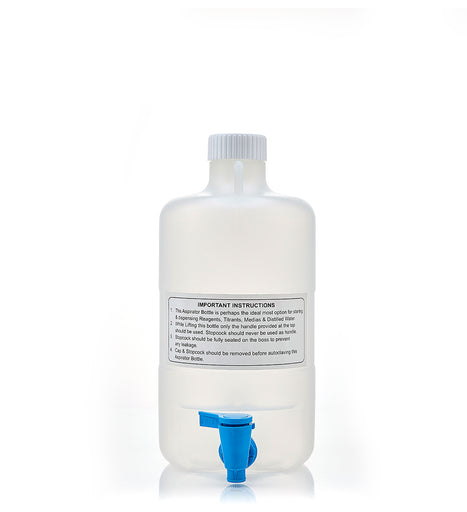 EZLabpure™ 5L PP Aspirator Bottle with White Cap and Spigot