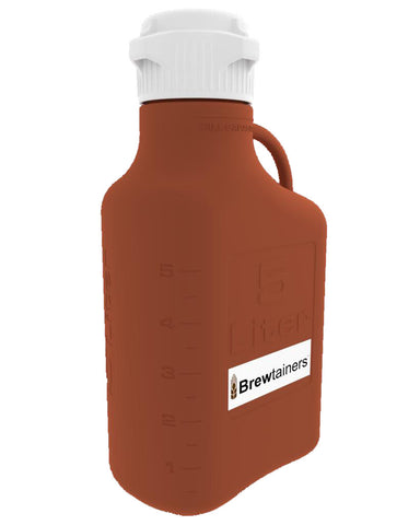 Brewtainers HDPE Amber Light Blocking 5L (1.82 Gal Max) Homebrew Yeast Container with leakproof Tight Sealed 83mm Cap