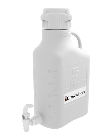 Brewtainers Polypropylene 5L (1.82 Gal Max) Homebrew Yeast Spigoted Despensing Container with leakproof Tight Sealed 83mm Cap