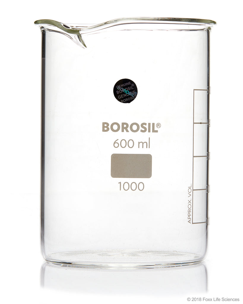 Borosil Beaker Griffin Low Form with Spout Graduated ISO 3819 Borosilicate 600mL CS/20