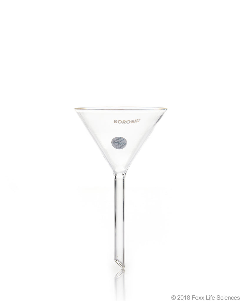 Borosil Funnels, Short Stem, Plain, 60 deg 100 MM, ISO 4798, 3.3 Borosilicate glass