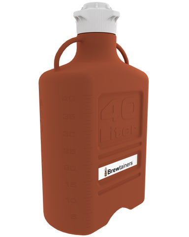 Brewtainers HDPE Amber Light Blocking 40L (13.05 Gal Max) Homebrew Yeast Container with leakproof Tight Sealed 120mm Cap
