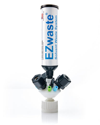 EZwaste® Universal Stackable HPLC 38-430 Solvent Waste Cap Assembly, W/ Exhaust Filter 6A-3C-3D Ports, 1/EA