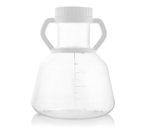 EZBio® 5L Erlenmeyer PC Flasks - 90mm Closed Cap w/Handle - Sterilized - 4/CS