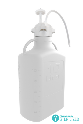 EZBio® Single Use Carboy Assembly, 10L, HDPE, VersaCap® 83B, TPE Tubing w/ Dip Tube, Gamma Sterilized, 1/EA