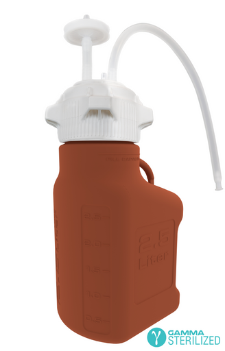 EZBio® Single Use Carboy Assembly, 2.5L, Amber HDPE, VersaCap® 83B, TPE Tubing w/ Dip Tube, Gamma Sterilized, 1/EA