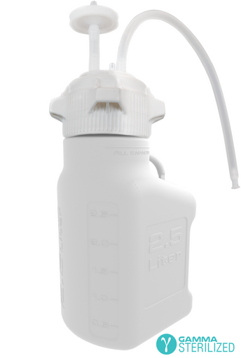 EZBio® Single Use Carboy Assembly, 2.5L, HDPE, VersaCap® 83B, TPE Tubing w/ Dip Tube, Gamma Sterilized, 1/EA