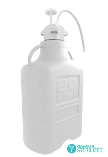 EZBio® Single Use Carboy Assembly, 20L, HDPE, VersaCap® 83B, TPE Tubing w/ Dip Tube, Gamma Sterilized, 1/EA