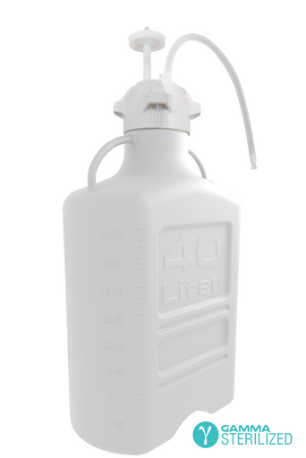 EZBio® Single Use Carboy Assembly, 40L, HDPE, VersaCap® 120mm, TPE Tubing w/ Dip Tube, Gamma Sterilized, 1/EA