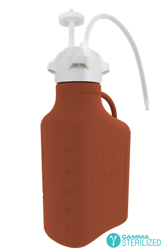 EZBio® Single Use Carboy Assembly, 5L, Amber HDPE, VersaCap® 83B, TPE Tubing w/ Dip Tube, Gamma Sterilized, 1/EA