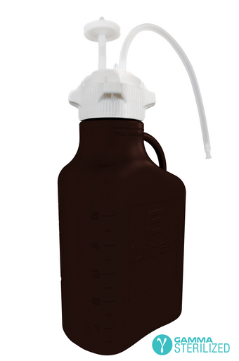 EZBio® Single Use Carboy Assembly, 5L, Dark Amber PP, VersaCap® 83B, TPE Tubing w/ Dip Tube, Gamma Sterilized, 1/EA