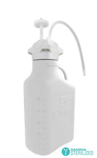 EZBio® Single Use Carboy Assembly, 5L, HDPE, VersaCap® 83B, TPE Tubing w/ Dip Tube, Gamma Sterilized, 1/EA