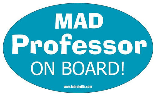 """Mad Professor on Board"" - Oval Sticker Default Title - LabRatGifts"