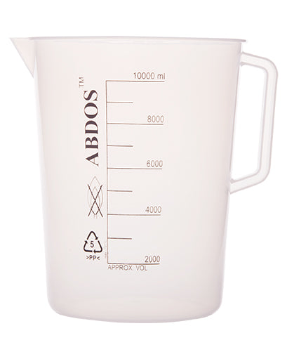 Abdos Printed Beakers with Handle, Polypropylene (PP) 10000ml, 1/EA