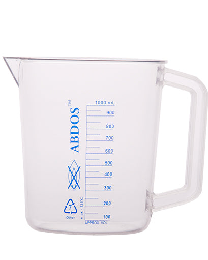 Abdos Printed Beakers with Handle, TPX Polymethyl pentene (PMP) 1000ml, 4/CS