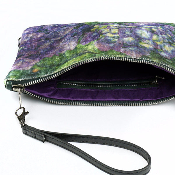 Wild by Water Luxe Velvet Pouch - Purple Hydrangea - inside