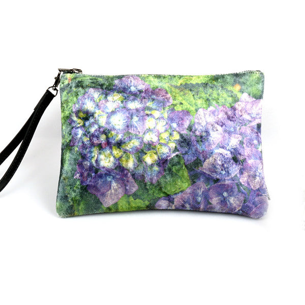 Wild by Water Luxe Velvet Pouch - Purple Hydrangea
