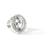 Aire-King's Signet Ring - 18K White Gold Aquamarine and Diamonds