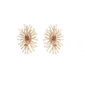 Load image into Gallery viewer, Salute to the Sun Earrings - 18 Karat Gold & Tourmaline Earrings