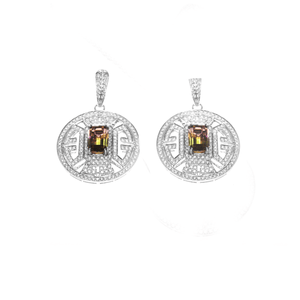Wisdom Earrings - Bi-Color Tourmaline and Diamonds Earrings
