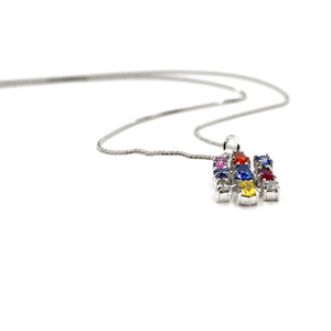 Rainbow Sapphire - 18 Karat White Gold Gemstones Necklace