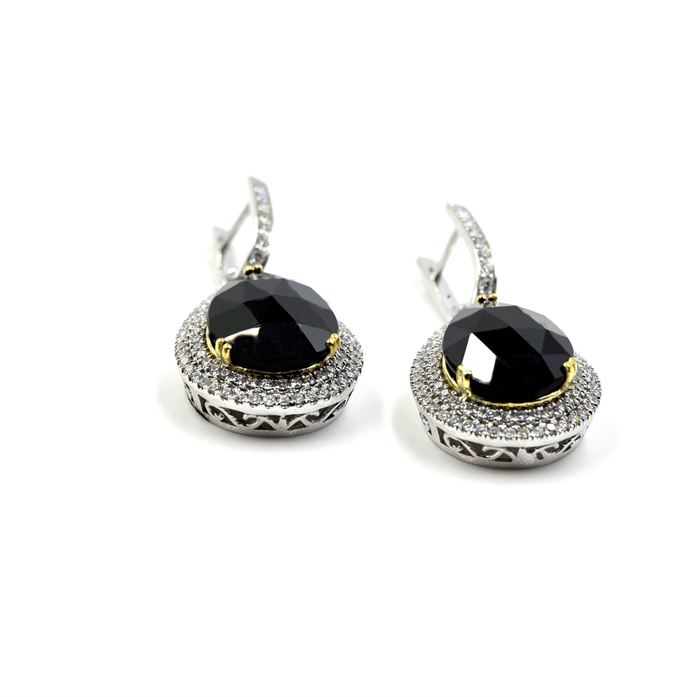 Anointed Beauty - 18 Karat White Gold Onyx And Diamonds Earrings