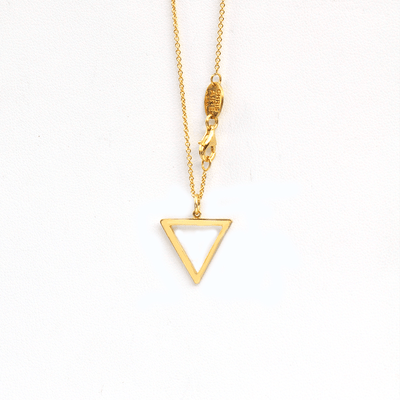 Hollow Tri-Tag 18 Karats Yellow Gold Necklace