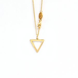 Hollow Tri-Tag 18 Karat Yellow Gold Necklace