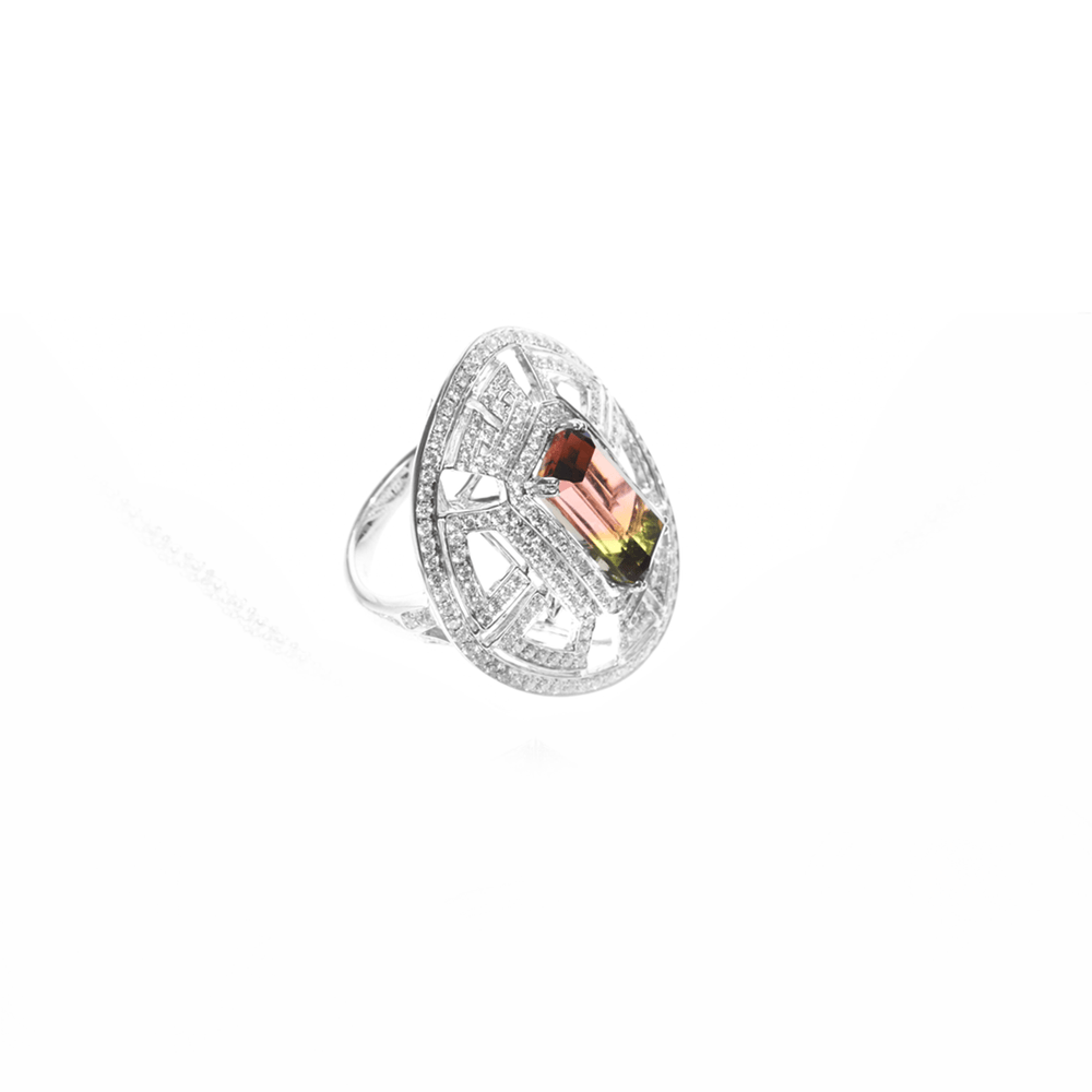 Wisdom Ring -  Bi-Color Tourmaline and Diamond Ring