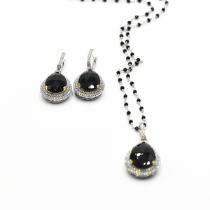 Anointed Beauty - 18K White Gold Necklace With Diamonds And Onyx Set