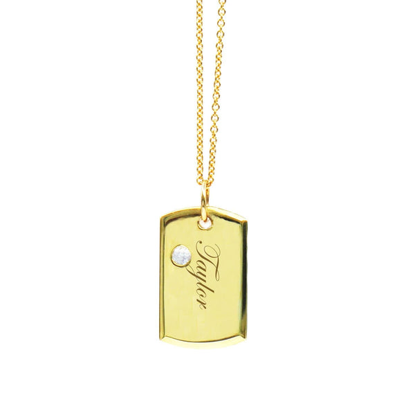 18K BABY DOG TAG WITH SOLITAIRE DIAMOND - Chris Aire Fine Jewelry & Timepieces