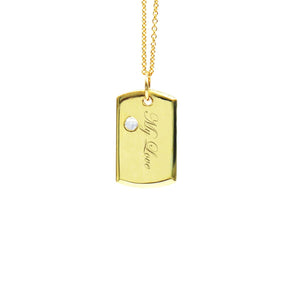 18 Karat Amber Hue Gold Baby Dog Tag with Solitaire Diamond