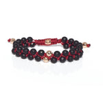 Prayer Bead Bracelet - 14 Karats Solid Gold & Black Onyx Beaded Bracelet - Red Gold®