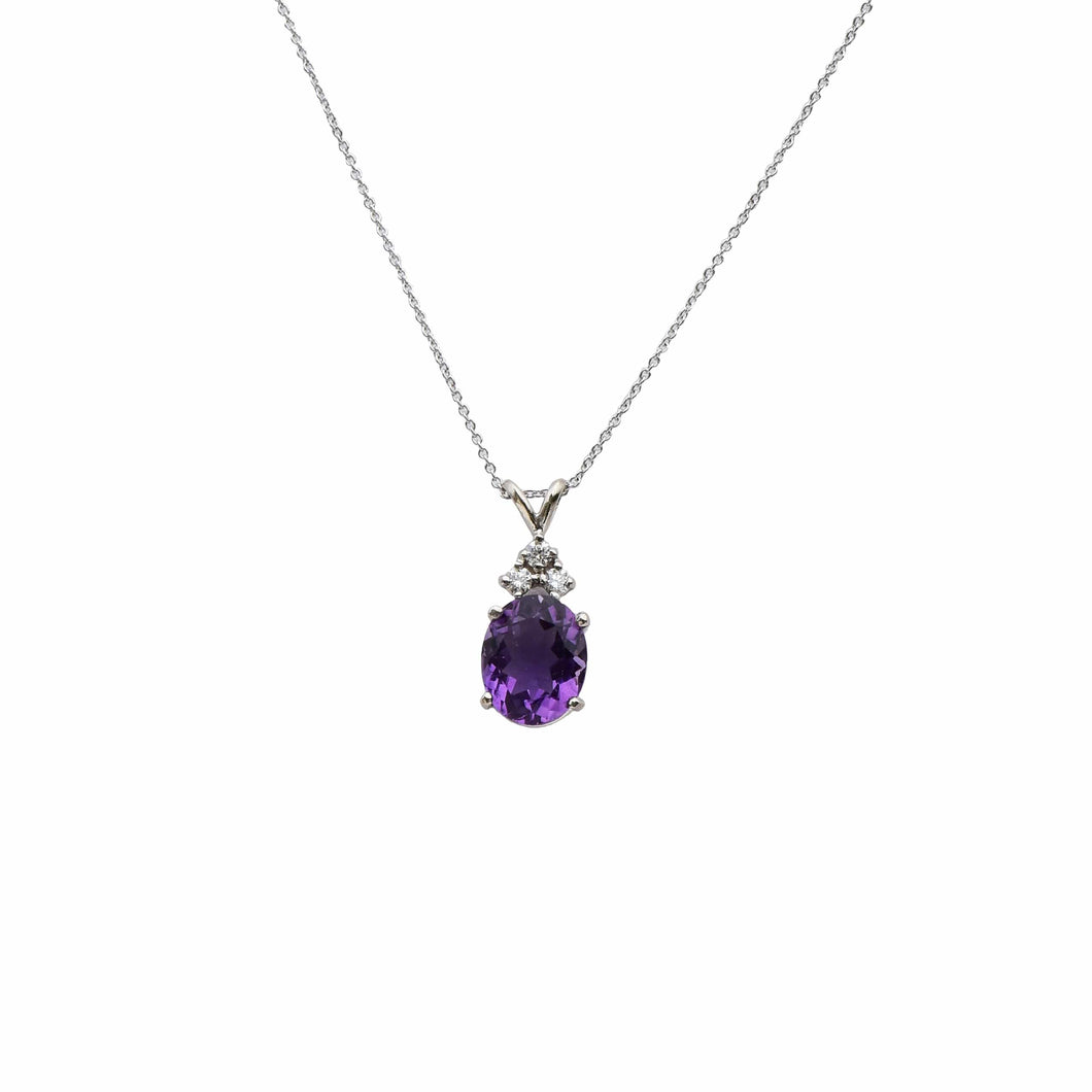 18 karat white gold Amethyst Necklace - Siloam Miracle