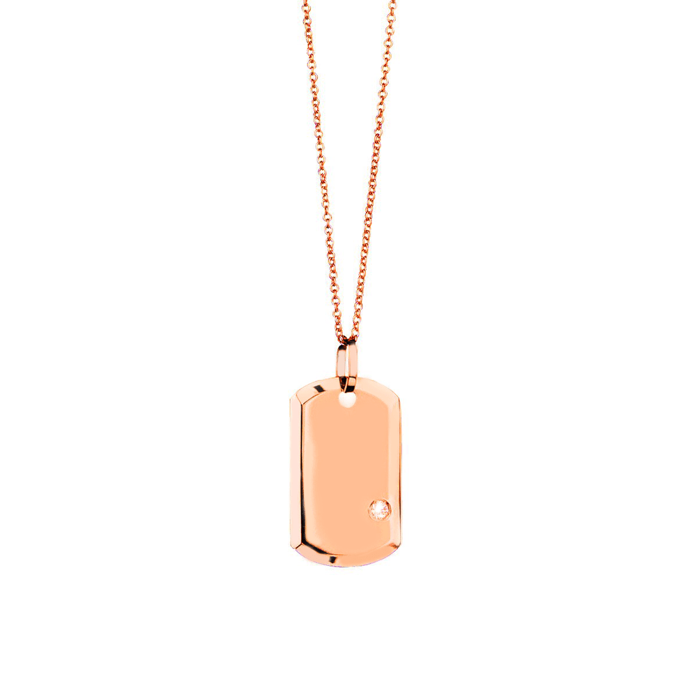 Aire Small Dog Tag - 18k Gold & Solitaire Diamond Dog Tag
