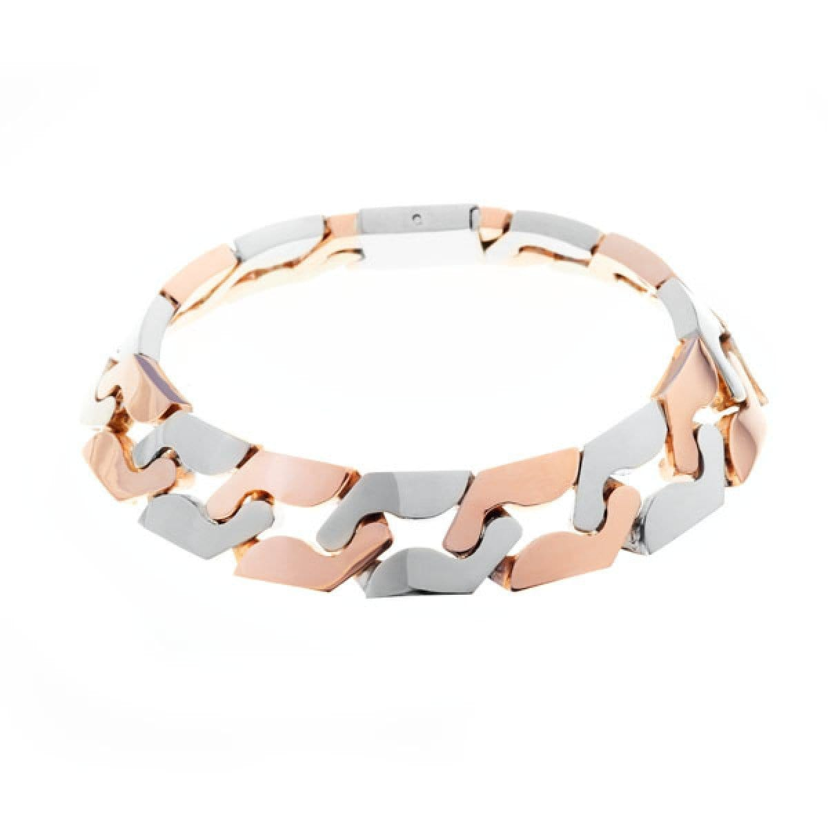 GOLD LINK TWO TONE CHOKER  NECKLACE - Chris Aire Fine Jewelry & Timepieces