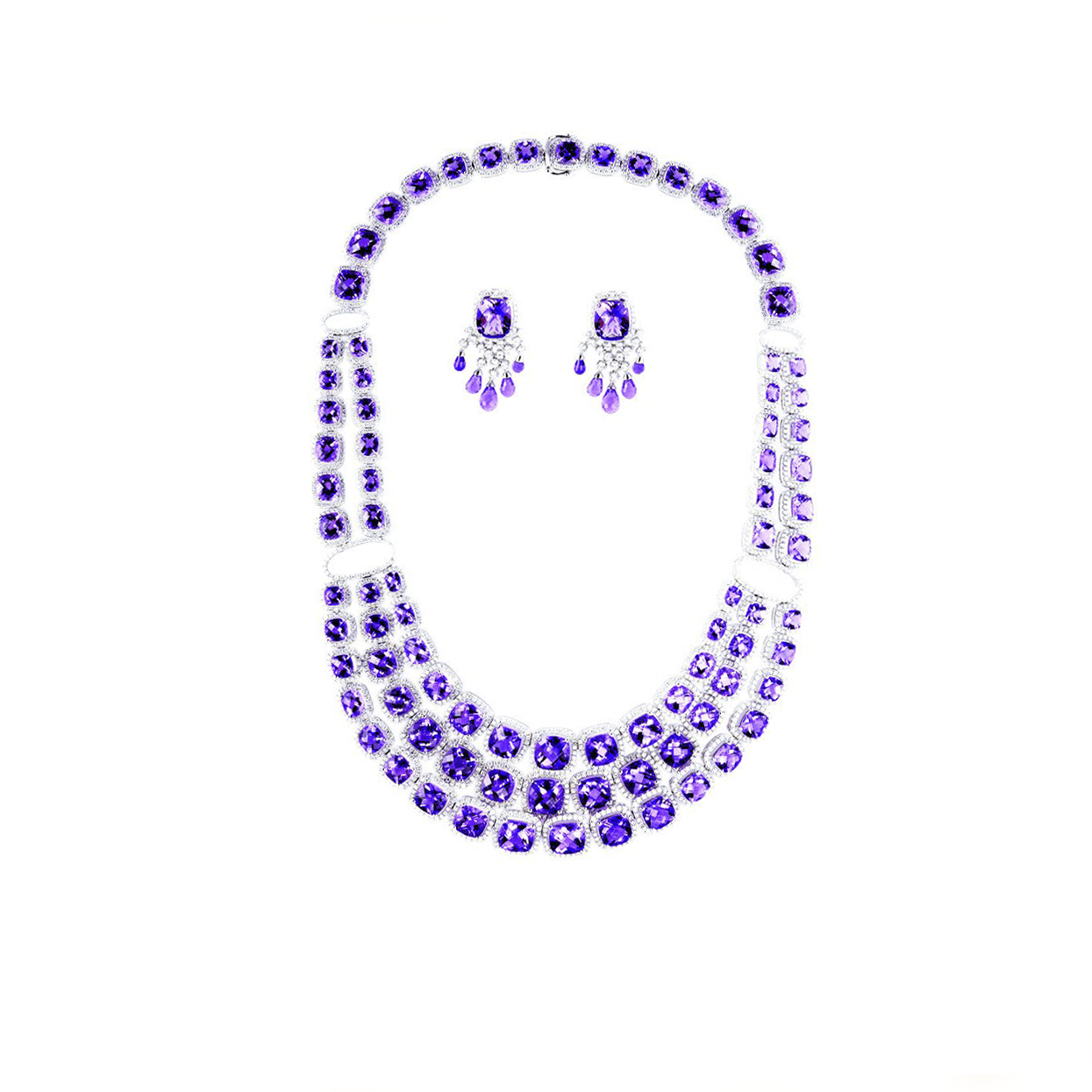 Grace to Glory - Amethyst & Diamond Necklace and Earrings Set