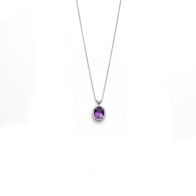 The Throne - Oval Shaped Amethyst Gemstone and Diamonds Necklace
