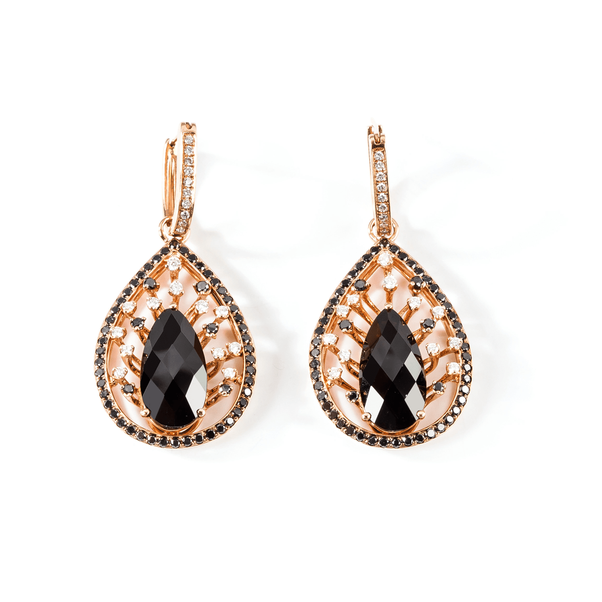 BLACK DIAMOND EARRING - PEAR MYSTERY - Chris Aire Fine Jewelry & Timepieces