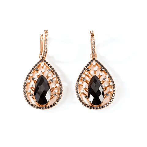 BLACK DIAMOND EARRING - PEAR MYSTERY