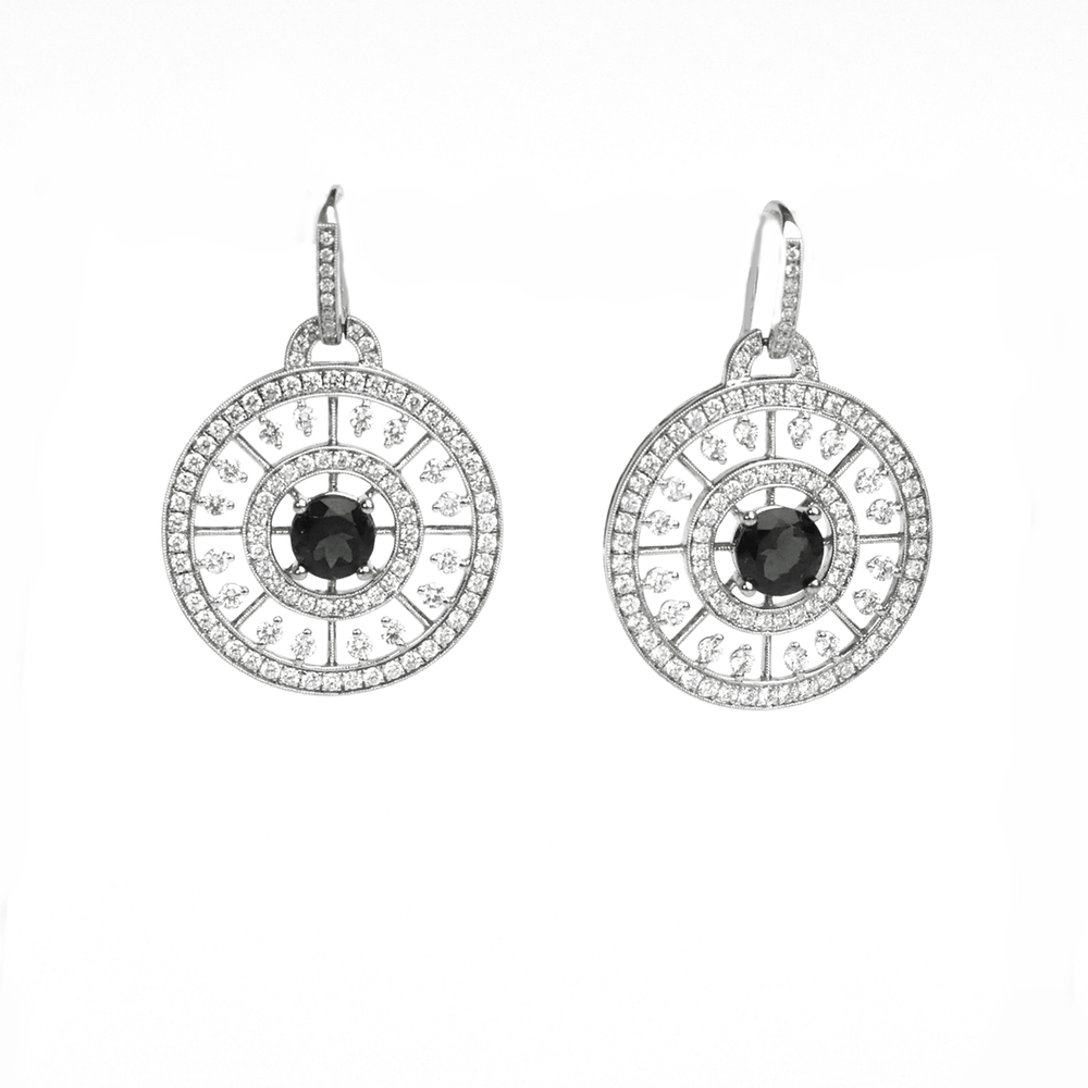 Load image into Gallery viewer, Black and White Diamond Earrings-DUCHESS