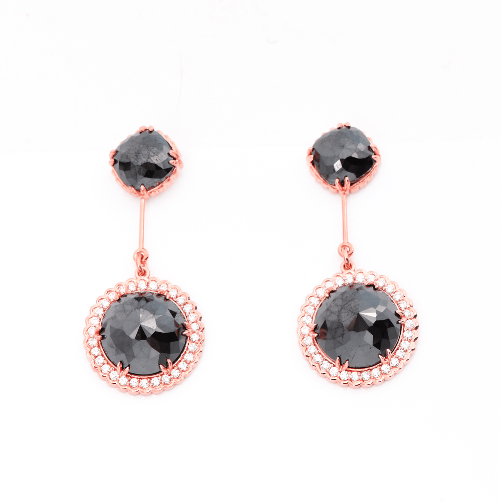 Load image into Gallery viewer, Beauty In Love - Black and White Diamond Earrings
